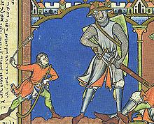 David and Goliath, illumination, anonymous, v. 1250.