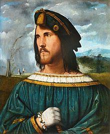 Portrait de gentilhomme dit César Borgia, Altobello Melone, 1500–1524, huile sur toile.