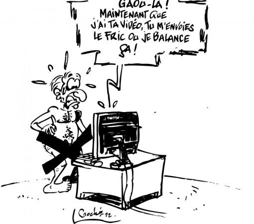 Illustration faite par un journal satirique ivoirien, lorsqu'un brouteur s'est fait passer pour un journaliste de France 24, pour faire du chantage. crédit photo: Gbich