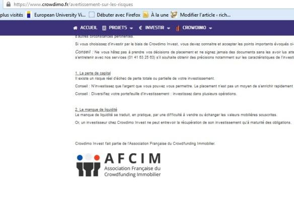 crowdimo test et avis investissement immobilier nouvelle plateforme membre AFCIM