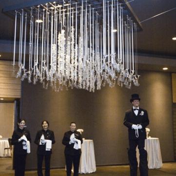 Custom hanging champagne glass chandelier