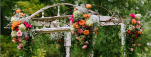 Huppah with orange and pink flowers