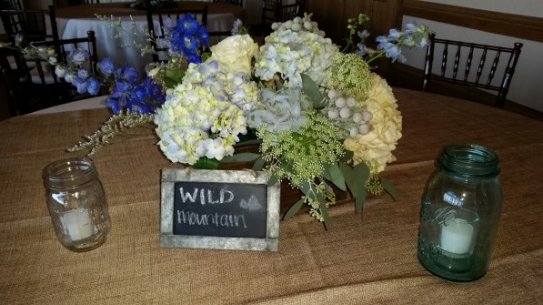 blue and gray wedding centerpiece