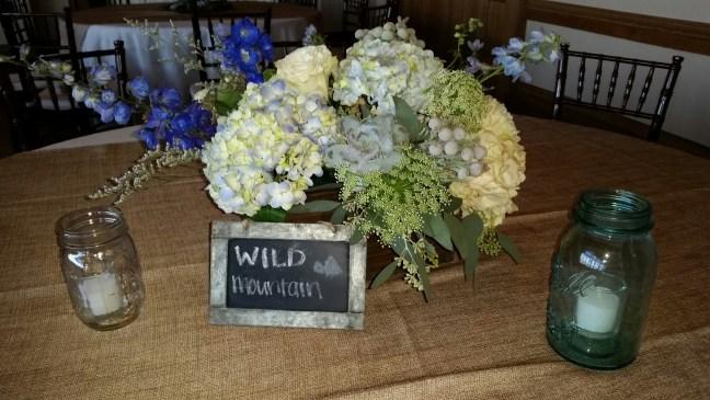 blue and gray wedding centerpiece