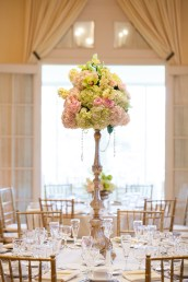 pale pink and green wedding centerpiece