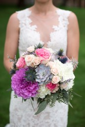 pink and purple wildflower wedding bouquet
