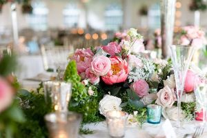 pink peony table arrangement