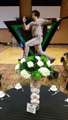 baseball themed arrangement for bar mitzvah