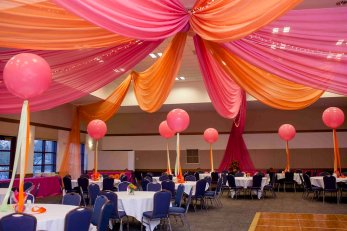 colorful bat mitzvah room decor