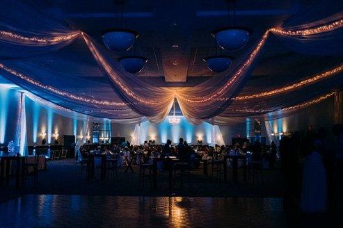 wedding reception drapery and lights