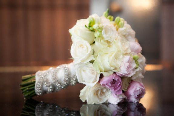 pink and white wedding bouquet with glitzy wrap