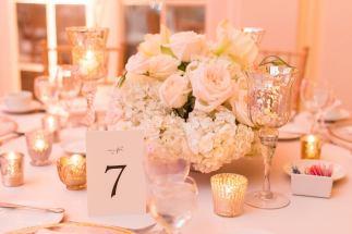 light pink low centerpiece