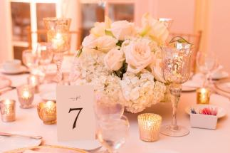 light pink low centerpiece