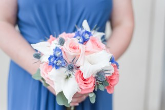 peachy blue wedding bouquet