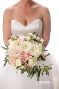 Bridal bouquet with pink and white roses