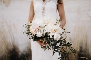 dahlia and rose wedding bouquet