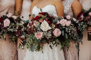 Close-up of wedding party bouquets