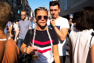 woman wearing white glasses