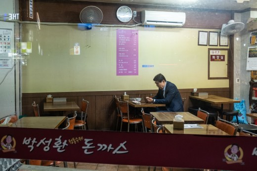 Lonely man in a restaurant