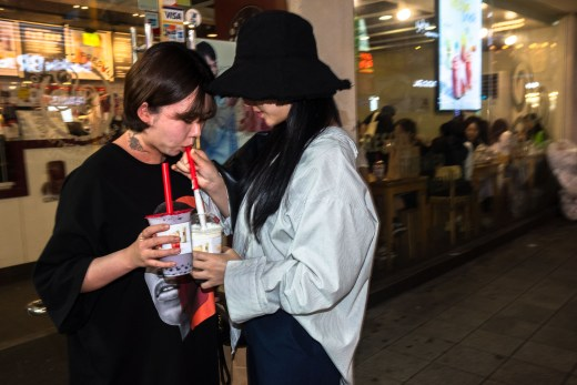 Women tasting ice creams