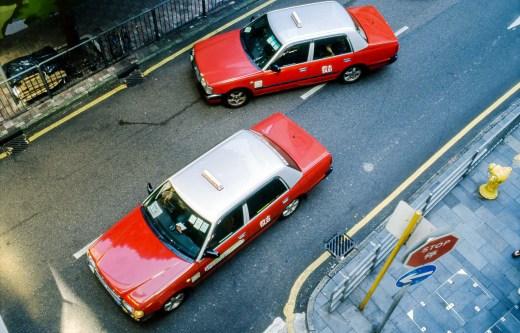 Hong Kong view, taxis