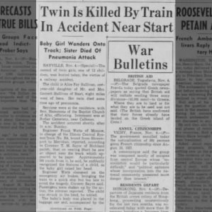 Twin Is Killed By Train In Accident Near Start