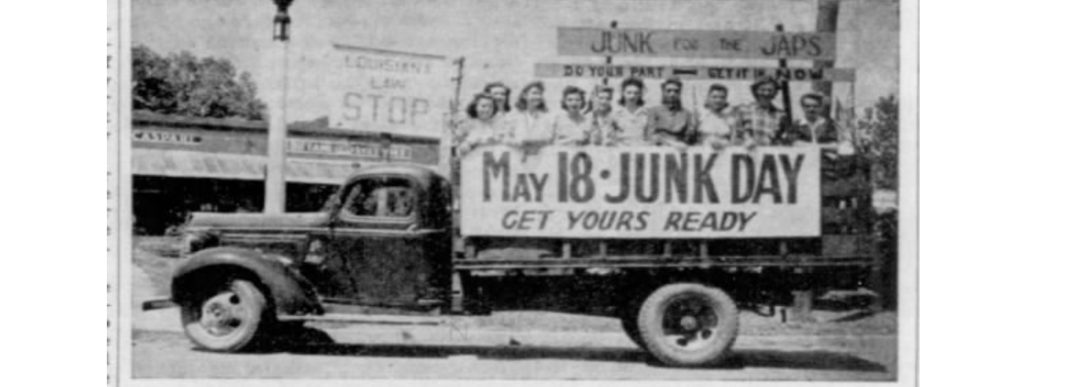 Salvage Collection Campaign In Richland Parish Implemented To Support Soldiers Abroad. WWII 1942