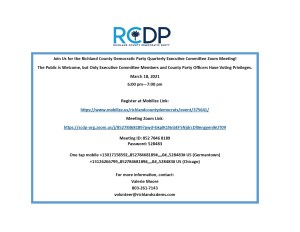 Richland County Democratic Party Quarterly Executive Committee Meeting @ Zoom