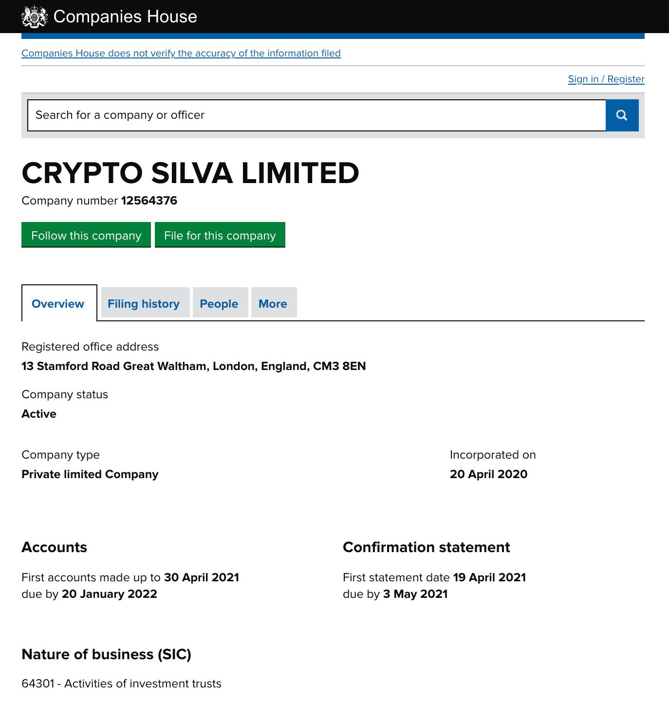 Crypto Silva Registration