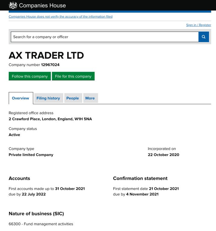 AXTrader registration