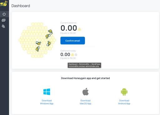 Honeygain review dashboard