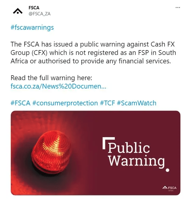 FCA Twitter warning for CashFX