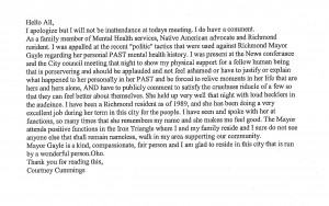 Letter from Cummings
