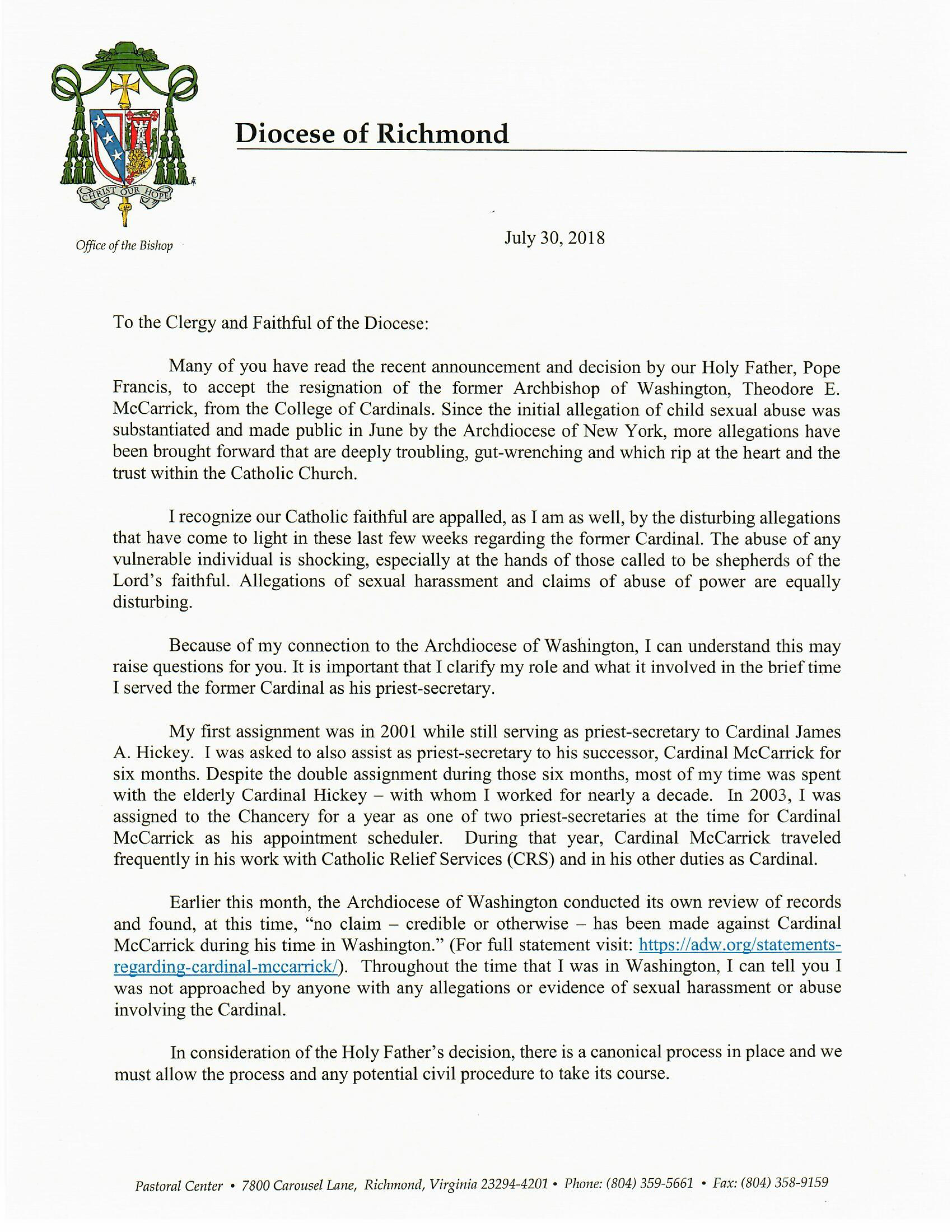 Letter to the Clergy and Faithful of the Diocese