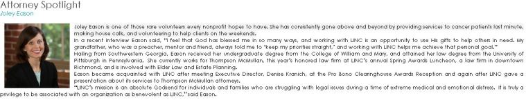 Joley is recognized in LINC's Attorney Spotlight, May 2013