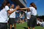 four girls dancing