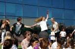 girl dancing with uni student