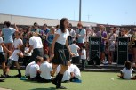kids dancing, tall girl in foreground