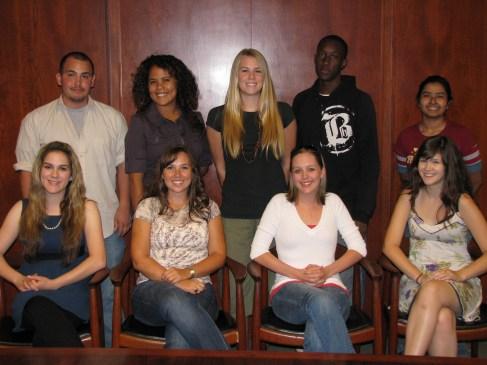 "2008-09 Richter Center Ambassadors - the Inaugural Team! From top left: Daniel Cisneros, Maricela ""Daini"" (Vargas) Park, Leah (Rath) Grace, Dalitso Ruwe, Madhubanti Chowdhury. From Bottom Left: Cassidy Smith, Lindsey (Hamilton) Yager, Melissa Watkins, Celeste Pilegard."
