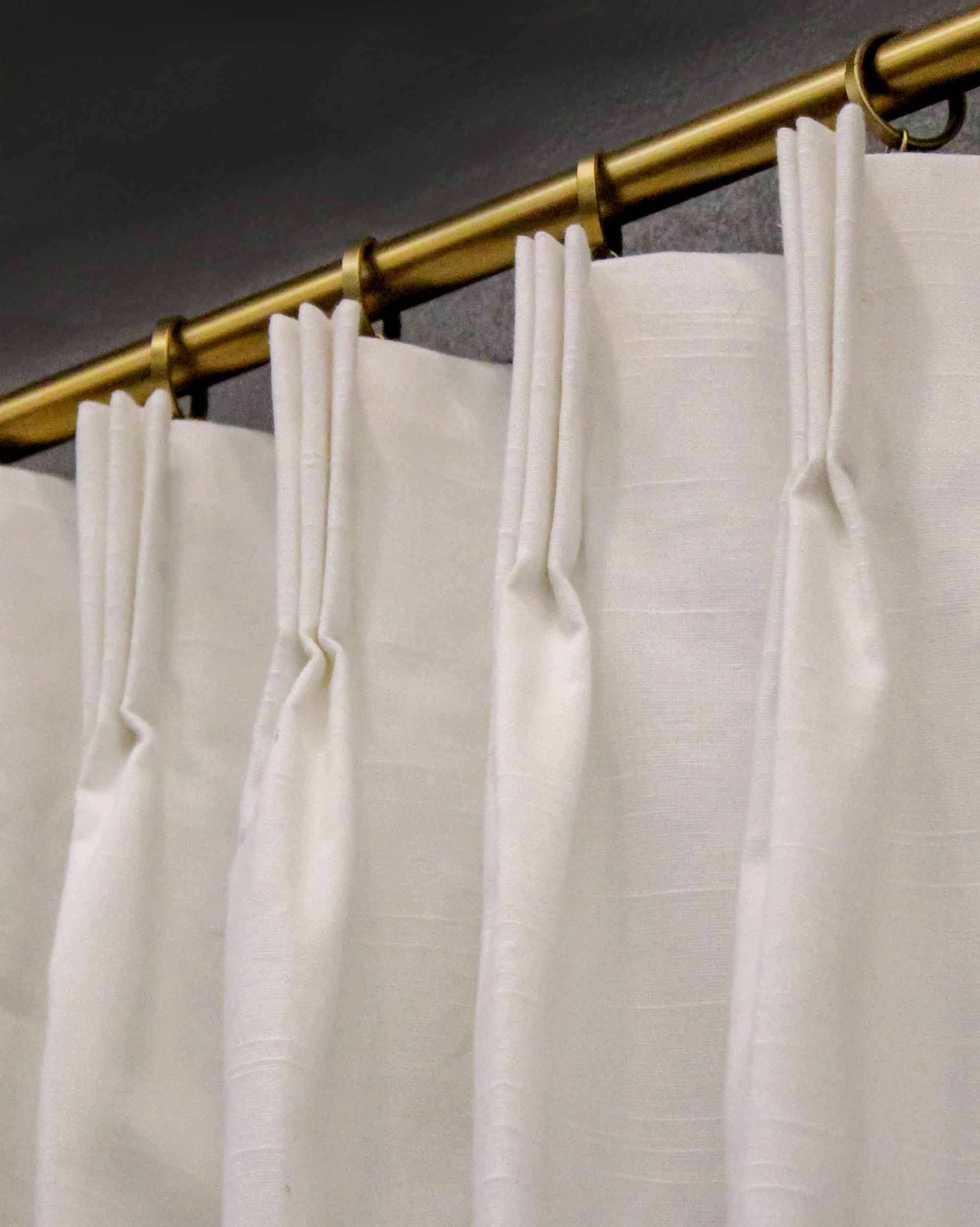 7 day custom drapes in white slub duck 2 panels