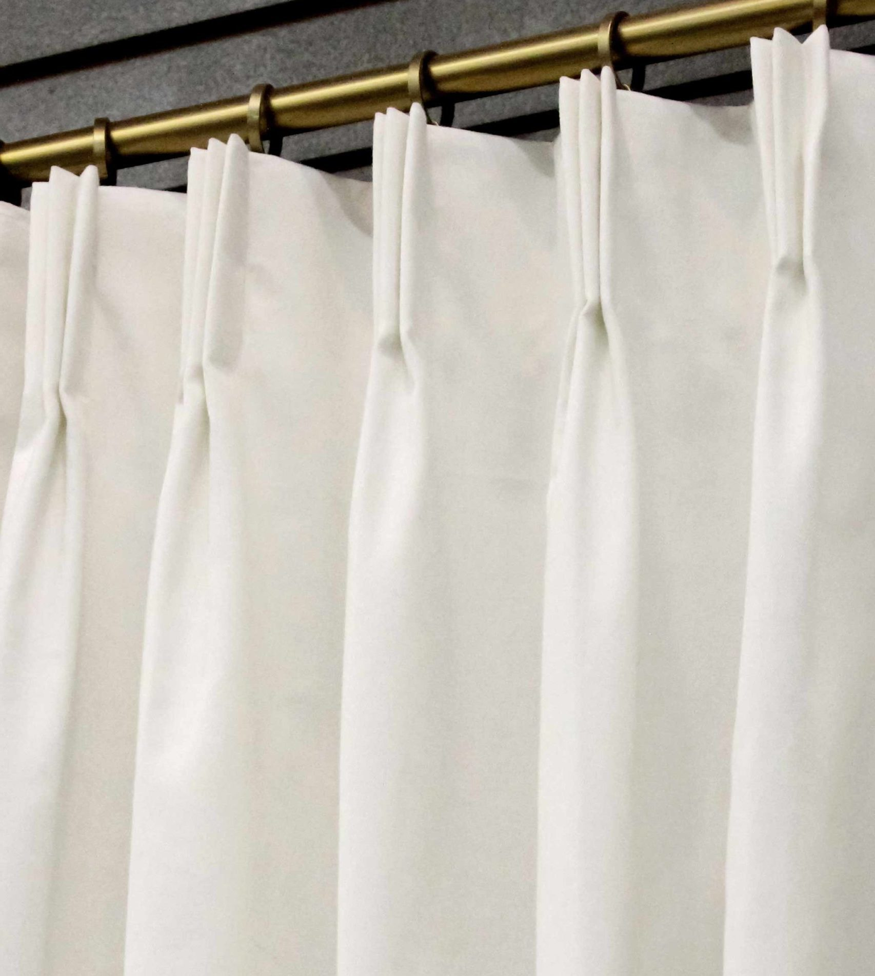 7 day custom pleated lined drapes in white fine twill 2 panels