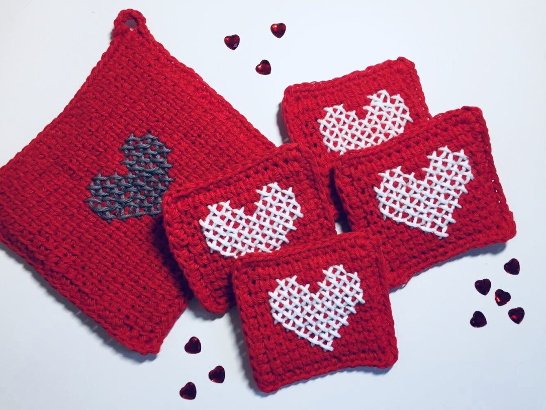 Tunisian Crochet Heart Coasters And Hot Pad A Free Pattern Rich