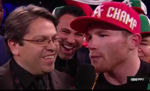 oscar de la hoya with a legit lol after canelo said 'mamadas'