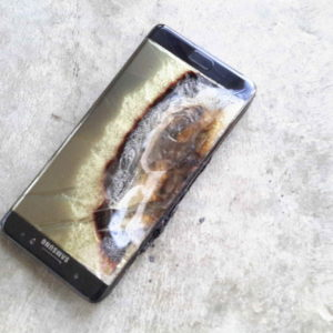 a samsung galaxy note 7 that went up in flames