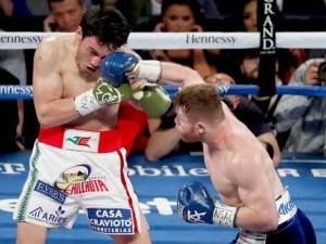 canelo lands a punch to chavez jr's face