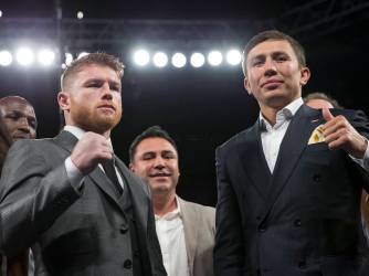 canelo & ggg pose to promote their september 16, 2017 fight