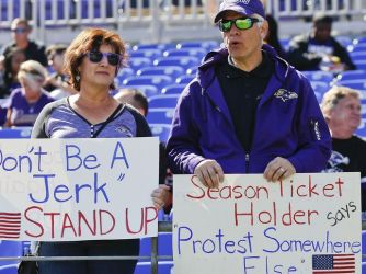 ravens fans pissed about ravens players taking a knee