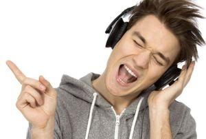 catchy tune on headphones