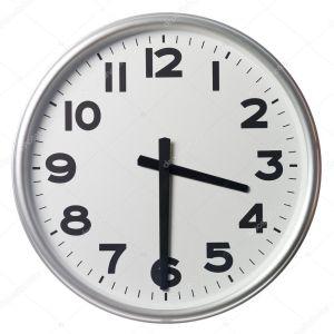 half past three on a clock