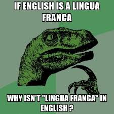 "philosoraptor meme: if english is a lingua franco, why isn't ""lingua franca"" in english?"